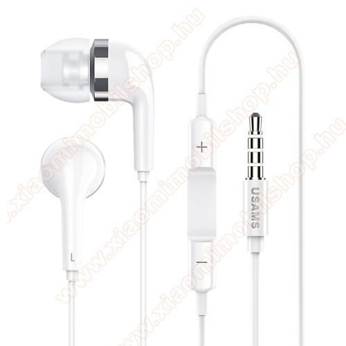 Xiaomi MI Note ProUSAMS EP-23 james bond sztereo headset - 3.5 mm jack, mikrofon, felvevő gomb, hangerőszabályzó - FEHÉR