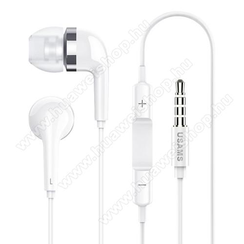 HUAWEI Honor 20 lite (For China Market)USAMS EP-23 james bond sztereo headset - 3.5 mm jack, mikrofon, felvevő gomb, hangerőszabályzó - FEHÉR