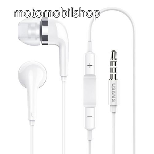 USAMS EP-23 james bond sztereo headset - 3.5 mm jack, mikrofon, felvevő gomb, hangerőszabályzó - FEHÉR