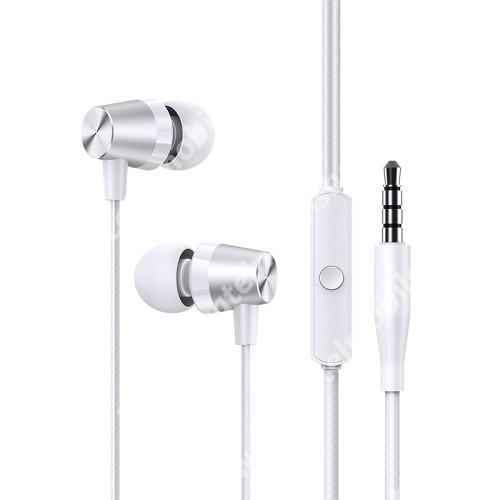 USAMS EP-42 UNIVERZÁLIS sztereo headset - 3.5mm Jack, mikrofon, felvevő gomb, 92dB, 32Ω, szövettel bevont 1.2 m-es vezetékkel - FEHÉR - US-SJ475 - GYÁRI