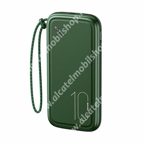 USAMS PB56 vésztöltő töltő / hordozható töltő - 2x USB + 1x Type-C + 1x microUSB aljat, 10000mAh Li-Polymer akku, csúszásgátló, cseppálló, beépített csuklópánt, 5V/2A, LED kijelző, 143 x 69.5 x 15.3mm - ZÖLD - PB56 - GYÁRI