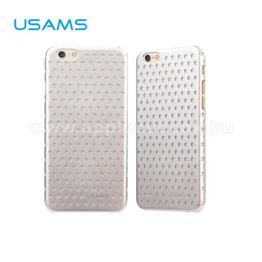 APPLE iPhone 6USAMS STARRY TWINKLE m?anyag v�d? tok / h�tlap - lyukacsos csillagmint�s - EZ�ST - APPLE iPhone 6