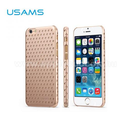APPLE iPhone 6USAMS STARRY TWINKLE műanyag védő tok / hátlap - lyukacsos csillagmintás - ARANY - APPLE iPhone 6
