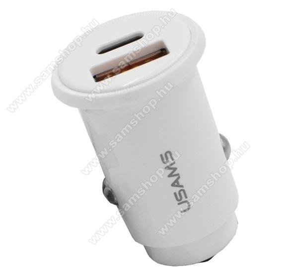 SAMSUNG SGH-U900 SoulUSAMS szivargyújtós töltő / autós töltő - 30W, 1x USB aljzat, 1x Type-C aljzat, 5V / 3000mA, PD gyorstöltés támogatás, kábel NÉLKÜL! - FEHÉR - CC086_W - GYÁRI