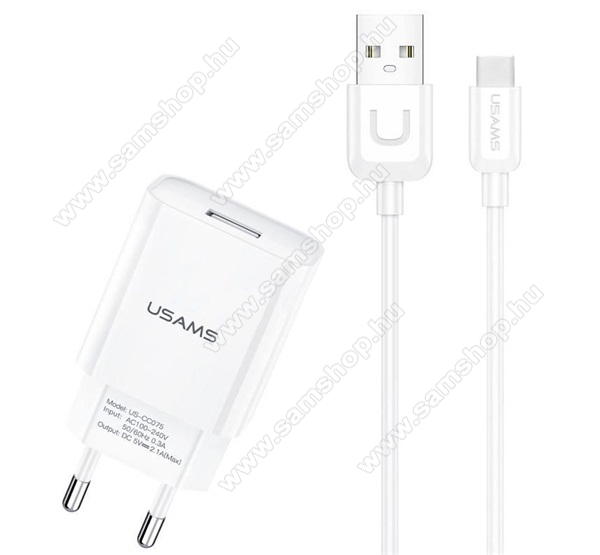 USAMS T21 hálózati töltő USB aljzattal - 5V / 2100 mA + Type-C kábel - FEHÉR - T21OCTC01 - GYÁRI