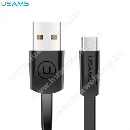 HUAWEI Honor 20 lite (For China Market)USAMS U2 adatátvitel adatkábel és töltő (Type-C, 120 cm hosszú, lapos kábel) FEKETE - SJ200TC01 - GYÁRI