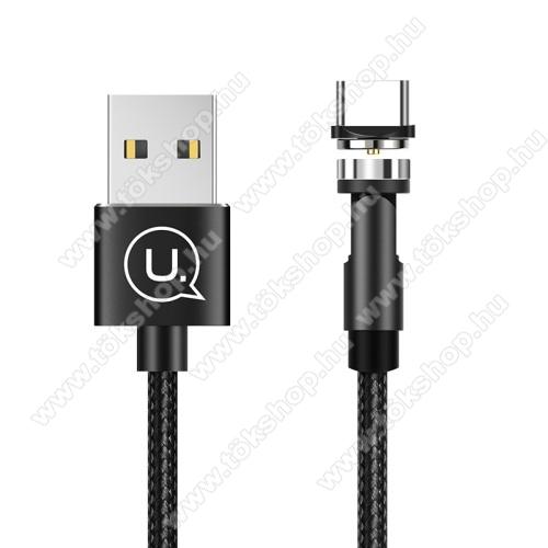 USAMS U59 adatátviteli kábel / USB töltő - mágneses, USB Type C, 1m, 2.4A, szövettel bevont - FEKETE - US-SJ473 - GYÁRI