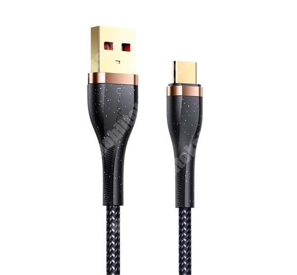 USAMS U64 adatátviteli kábel / USB töltő - Type-C / USB, 120cm hosszú, 3A, szövettel bevont, törésgátló, gyorstöltés támogatás - FEKETE - SJ488 - GYÁRI