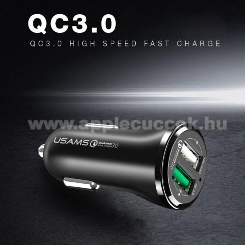 USAMS US-CC028 szivargy�jt� / aut�s t�lt? 2db USB aljzattal - Quick Charge 3.0 (3.6-6V/3A, 6.2-9V/1,5A, 9.2-12V/1,5A) �s 5V/2.4A - FEKETE - GY�RI