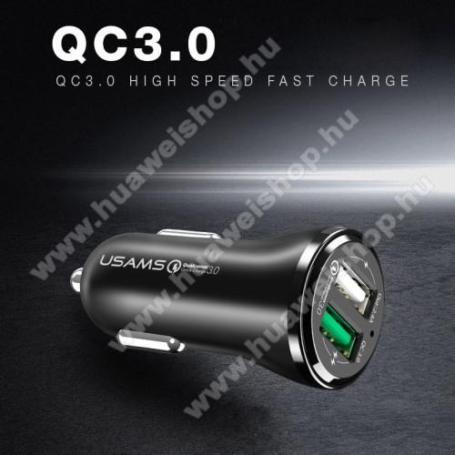 HUAWEI Honor 20 lite (For China Market)USAMS US-CC028 szivargyújtó / autós töltő 2db USB aljzattal - Quick Charge 3.0 (3.6-6V/3A, 6.2-9V/1,5A, 9.2-12V/1,5A) és 5V/2.4A - FEKETE - GYÁRI