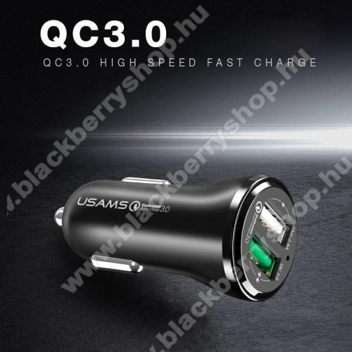 USAMS US-CC028 szivargyújtó / autós töltő 2db USB aljzattal - Quick Charge 3.0 (3.6-6V/3A, 6.2-9V/1,5A, 9.2-12V/1,5A) és 5V/2.4A - FEKETE - GYÁRI