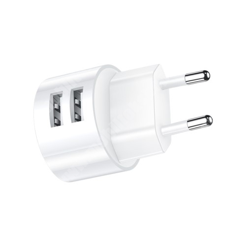 ALCATEL A30 USAMS US T20 hálózati töltő USB aljzattal - 2 USB aljzattal, 5V/2.1A - FEHÉR - GYÁRI