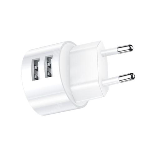 USAMS US T20 hálózati töltő USB aljzattal - 2 USB aljzattal, 5V/2.1A - FEHÉR - GYÁRI