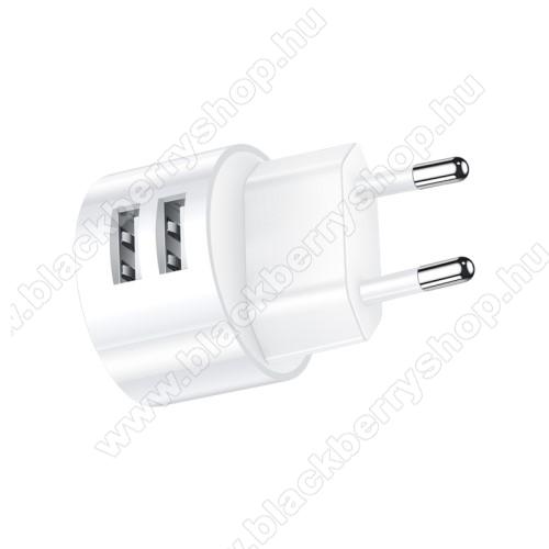 BLACKBERRY DTEK50USAMS US T20 hálózati töltő USB aljzattal - 2 USB aljzattal, 5V/2.1A - FEHÉR - GYÁRI
