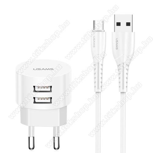 USAMS US T20 hálózati töltő USB aljzattal - 2 USB aljzattal, 5V/2.1A, 1m-es USB / microUSB adatátviteli és töltő kábellel - FEHÉR - GYÁRI