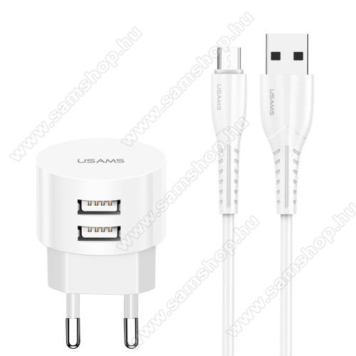 SAMSUNG GT-S5350 SharkUSAMS US T20 hálózati töltő USB aljzattal - 2 USB aljzattal, 5V/2.1A, 1m-es USB / microUSB adatátviteli és töltő kábellel - FEHÉR - GYÁRI