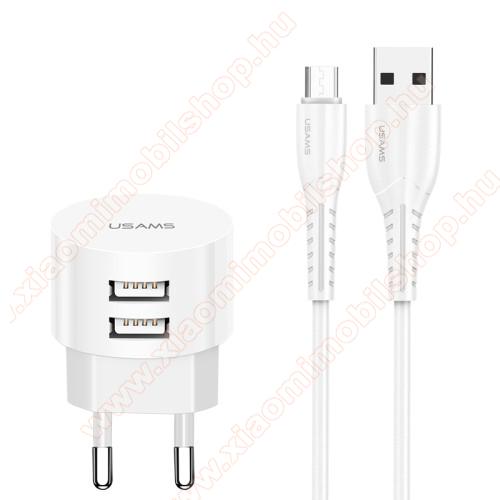 Xiaomi Mi AirDotsUSAMS US T20 hálózati töltő USB aljzattal - 2 USB aljzattal, 5V/2.1A, 1m-es USB / microUSB adatátviteli és töltő kábellel - FEHÉR - GYÁRI