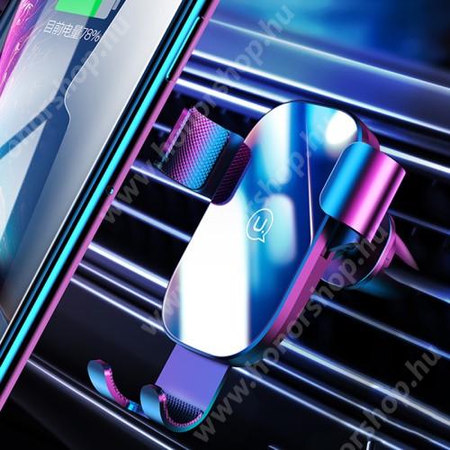 """HUAWEI Honor V40 5G USAMS US-ZJ052 gravity univerzális autós / gépkocsi tartó - FEKETE - szellőzőrácsra rögzíthető, kör alakú szellőzőráccsal is kompatibilis!, 4,5-6,5""""-os készülékekhez - GYÁRI"""
