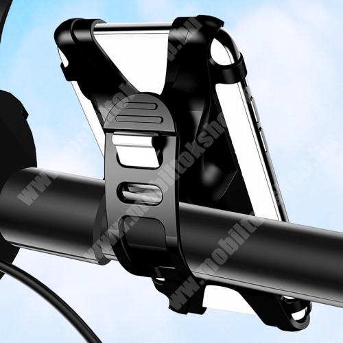 """ALCATEL OTE E221 USAMS US-ZJ053 UNIVERZÁLIS motoros / kerékpáros tartó konzol mobiltelefon készülékekhez - szilikon, kormányra rögzíthető, 4-6""""-os készülékekhez - FEKETE - GYÁRI"""