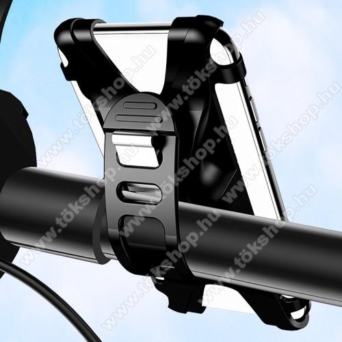 USAMS US-ZJ053 UNIVERZÁLIS motoros / kerékpáros tartó konzol mobiltelefon készülékekhez - szilikon, kormányra rögzíthető, 4-6