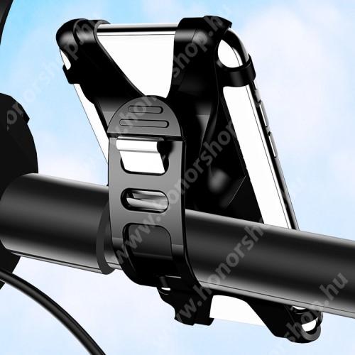 """HUAWEI Honor V40 5G USAMS US-ZJ053 UNIVERZÁLIS motoros / kerékpáros tartó konzol mobiltelefon készülékekhez - szilikon, kormányra rögzíthető, 4-6""""-os készülékekhez - FEKETE - GYÁRI"""