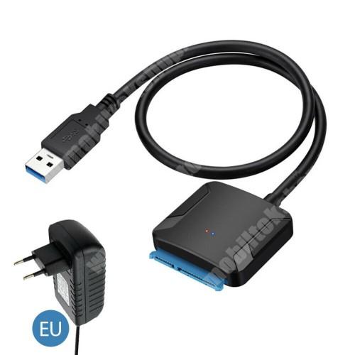 """USB 3.0 2.5 / 3.5"""" HDD / SSD átalakító - lehetővé teszi 2,5 ″ vagy 3,5 ″ SATA merevlemez csatlakoztatását a számítógéphez az USB 3.0 porton keresztül, akár 5 Gbps sebességgel, ADAPTERREL! - FEKETE"""