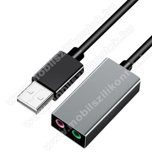 USB / 3,5mm Jack audio adapter kábel - fejhallgatóhoz / mikrofonhoz - FEKETE