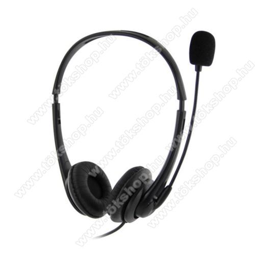 USB SZTEREO fejhallgató - USB csatlakozó, mikrofon, zajszűrő,  némító gomb, hangerőszabályzó, PC / LAPTOPHOZ - FEKETE