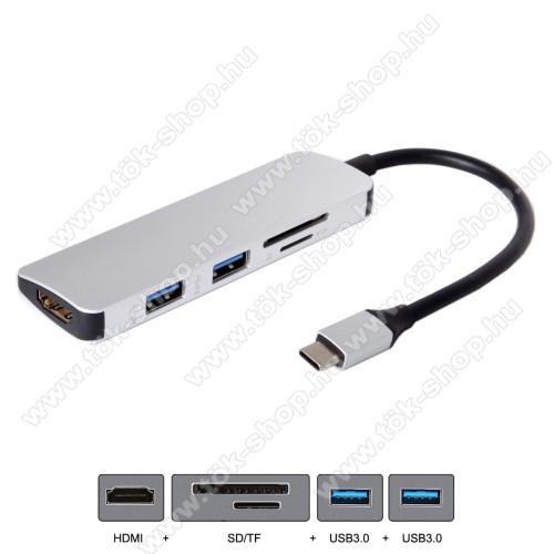 USB Type-C - USB 3.0 adapter - SD / TF kártyaolvasó + 1x HDMI port + 2x USB 3.0 csatlakozás - SZÜRKE