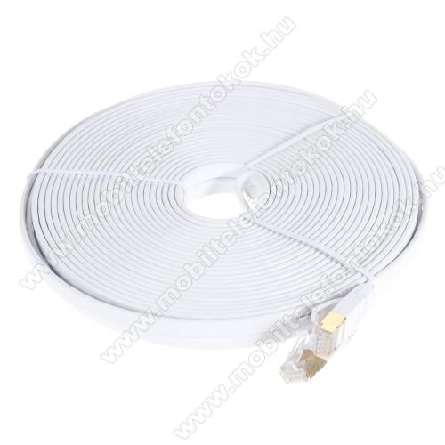 UTP CAT7 PATCH LAN KÁBEL - 15m hosszú, lapos kábel, 10 Gbps, árnyékolt RJ45 csatlakozók - FEHÉR