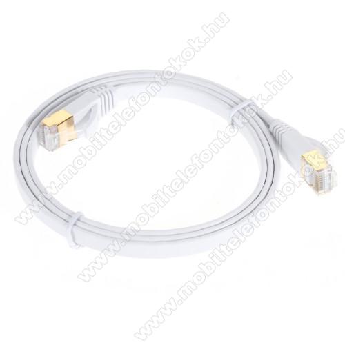 UTP CAT7 PATCH LAN KÁBEL - 1m hosszú, lapos kábel, 10 Gbps, árnyékolt RJ45 csatlakozók - FEHÉR