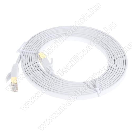 UTP CAT7 PATCH LAN KÁBEL - 3m hosszú, lapos kábel, 10 Gbps, árnyékolt RJ45 csatlakozók - FEHÉR