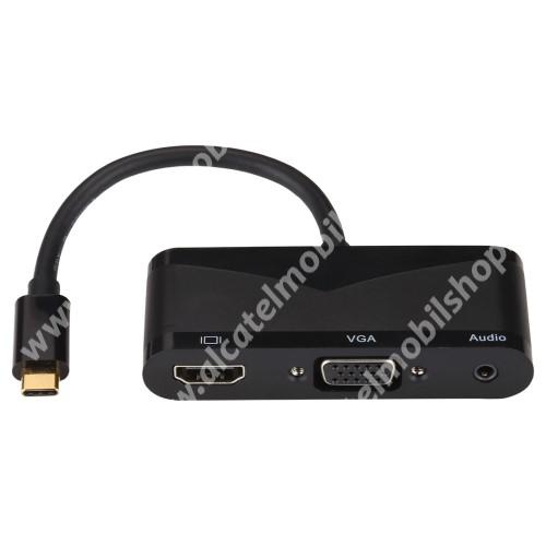 V83 Type-C-s UNIVERZÁLIS 4K HDMI + VGA + 3.5mm Audio + USB Port adapter - Type-C, a VGA nem támogatja a 4K formátumot - FEKETE