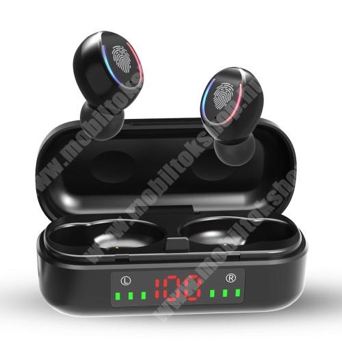 ALCATEL A30 V8 TWS BLUETOOTH sztereó fülhallgató - V5.0, mikrofon, CVC8.0 zajszűrő, 450mAh töltőtokkal, érintéssel vezérelhető, IPX7 vízállóság, digitális kijelző - FEKETE