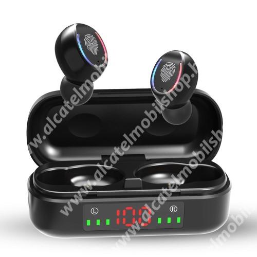Alcatel OT-810D V8 TWS BLUETOOTH sztereó fülhallgató - V5.0, mikrofon, CVC8.0 zajszűrő, 450mAh töltőtokkal, érintéssel vezérelhető, IPX7 vízállóság, digitális kijelző - FEKETE