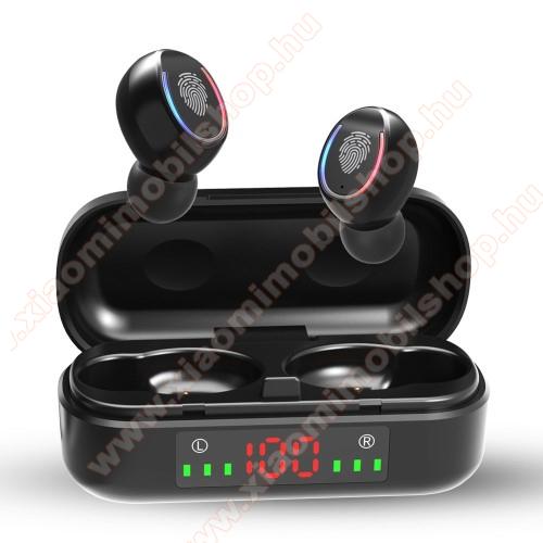 V8 TWS BLUETOOTH sztereó fülhallgató - V5.0, mikrofon, CVC8.0 zajszűrő, 450mAh töltőtokkal, érintéssel vezérelhető, IPX7 vízállóság, digitális kijelző - FEKETE