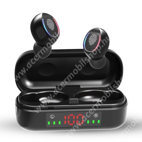ACER Iconia Tab A3-A20FHDV8 TWS BLUETOOTH sztereó fülhallgató - V5.0, mikrofon, CVC8.0 zajszűrő, 450mAh töltőtokkal, érintéssel vezérelhető, IPX7 vízállóság, digitális kijelző - FEKETE