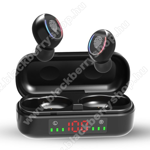BLACKBERRY 8110 PearlV8 TWS BLUETOOTH sztereó fülhallgató - V5.0, mikrofon, CVC8.0 zajszűrő, 450mAh töltőtokkal, érintéssel vezérelhető, IPX7 vízállóság, digitális kijelző - FEKETE