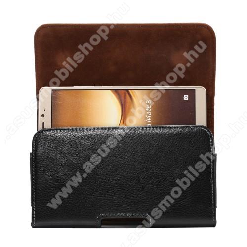 ASUS Fonepad Note FHD6Valódi bőr fekvő tok - övre fűzhető, övcsipesz, rejtett mágneses záródás - FEKETE - 168 x 90 x 15mm