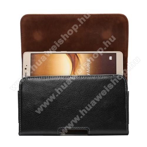 Huawei Ascend Mate 2Valódi bőr fekvő tok - övre fűzhető, övcsipesz, rejtett mágneses záródás - FEKETE - 168 x 90 x 15mm