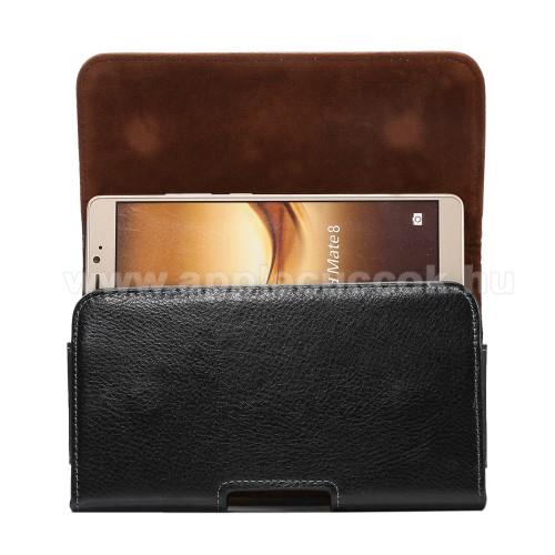 Valódi bőr fekvő tok - övre fűzhető, övcsipesz, rejtett mágneses záródás - FEKETE - 168 x 90 x 15mm