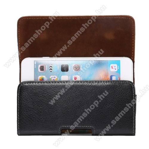 SAMSUNG Galaxy S8 Plus (SM-G955)Valódi bőr fekvő tok - övre fűzhető, övcsipesz, rejtett mágneses záródás - FEKETE - 148 x 80 x 15mm