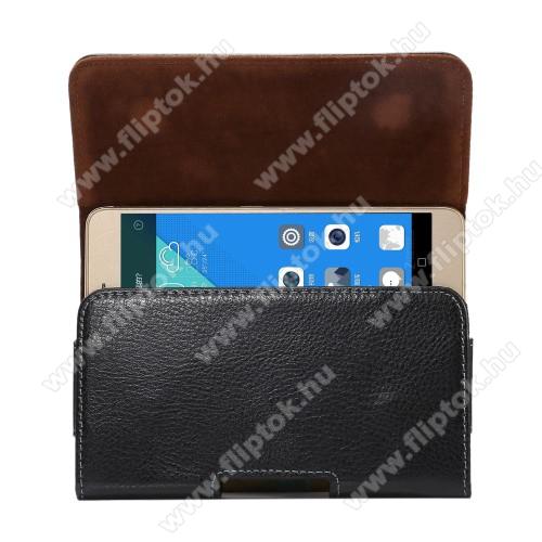 Huawei Enjoy 10Valódi bőr fekvő tok - övre fűzhető, övcsipesz, rejtett mágneses záródás - FEKETE - 162 x 81 x 12mm