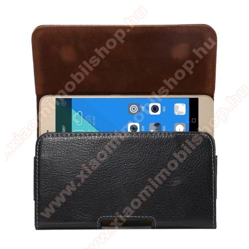 Xiaomi Redmi Note 5Valódi bőr fekvő tok - övre fűzhető, övcsipesz, rejtett mágneses záródás - FEKETE - 162 x 81 x 12mm