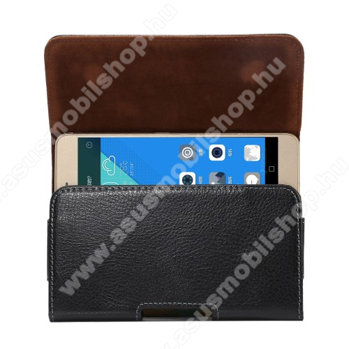 ASUS Zenfone 4 Selfie Lite (ZB520KL)Valódi bőr fekvő tok - övre fűzhető, övcsipesz, rejtett mágneses záródás - FEKETE - 162 x 81 x 12mm