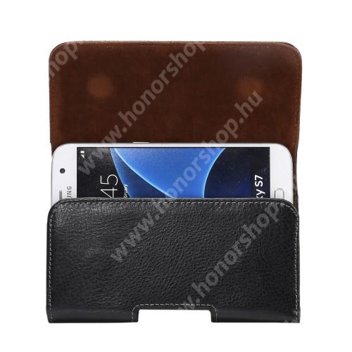 HUAWEI Honor 8 Premium Valódi bőr fekvő tok - övre fűzhető, övcsipesz, rejtett mágneses záródás - FEKETE - 145 x 77 x 20mm