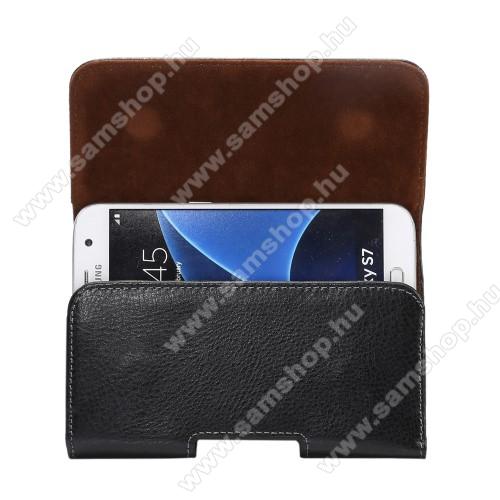 SAMSUNG Galaxy Grand Duos (GT-I9082)Valódi bőr fekvő tok - övre fűzhető, övcsipesz, rejtett mágneses záródás - FEKETE - 145 x 77 x 20mm