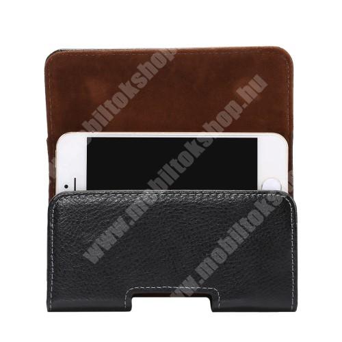 Valódi bőr fekvő tok - övre fűzhető, övcsipesz, rejtett mágneses záródás - FEKETE - 127 x 62 x 12mm
