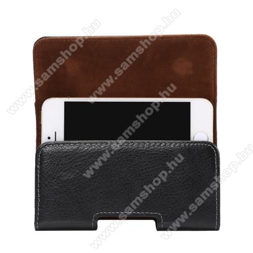 SAMSUNG Galaxy S4 mini DUOS (GT-I9192)Valódi bőr fekvő tok - övre fűzhető, övcsipesz, rejtett mágneses záródás - FEKETE - 127 x 62 x 12mm