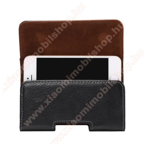 Xiaomi MI-2sValódi bőr fekvő tok - övre fűzhető, övcsipesz, rejtett mágneses záródás - FEKETE - 127 x 62 x 12mm